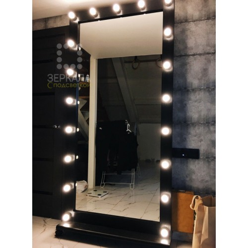 Гримерное зеркало цвет черный 200х100 из массива сосны на подставке