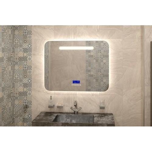 Зеркало в ванную комнату с подсветкой светодиодной лентой Аделина